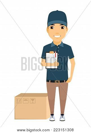 The concept of mail delivery. A young postman stands next to a box and holding a tablet. Smiles. The working uniform. In flat style on white background. Cartoon.