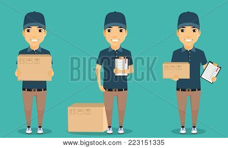 A young boy, the mailman. The concept of mail delivery. The smiling guy with the box and papers. The working uniform. In flat style. Cartoon.