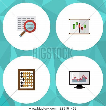 Icon flat finance set of abacus, chart, search and other vector objects. Also includes chart, magnifier, counter elements.