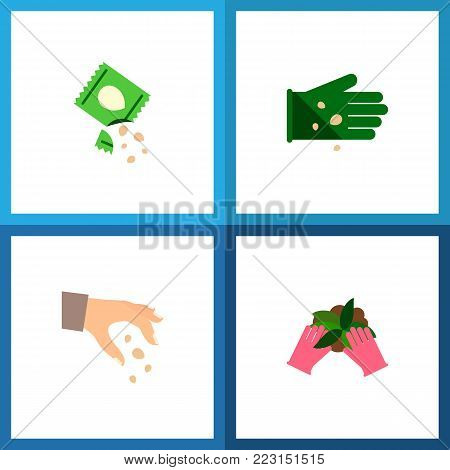 Icon flat seed set of seed, sow, hand vector objects. Also includes seed, sow, plant elements.