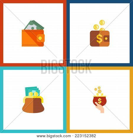 Icon flat billfold set of pouch, purse, payment and other vector objects. Also includes money, purse, pouch elements.