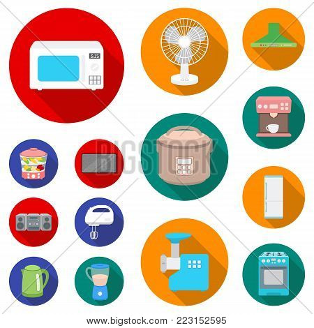 Types of household appliances flat icons in set collection for design.Kitchen equipment vector symbol stock  illustration.