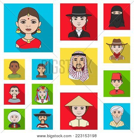 The human race flat icons in set collection for design. People and nationality vector symbol stock  illustration.
