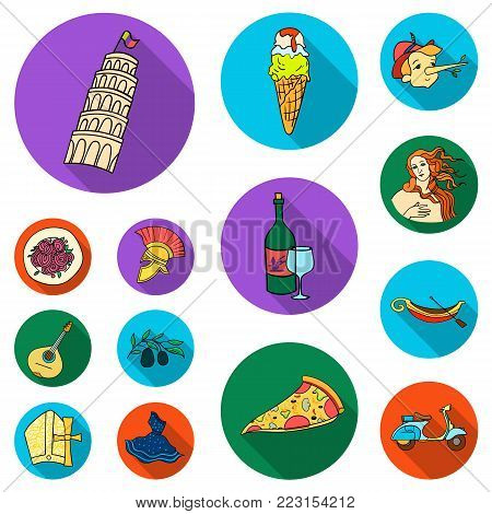Country Italy flat icons in set collection for design. Italy and landmark vector symbol stock  illustration.
