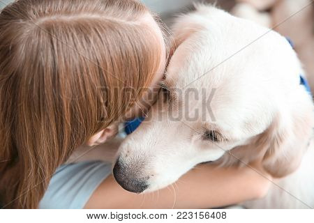 Girl hugging golden retriever, closeup. Service dog
