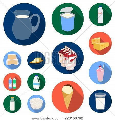 Milk product flat icons in set collection for design.Milk and food vector symbol stock  illustration.
