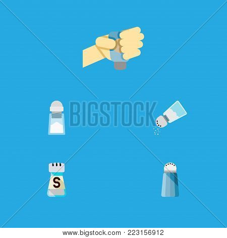 Icon flat salt set of saltshaker, sodium, pour and other  objects. Also includes salt, saltshaker, sodium elements.