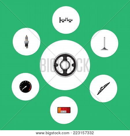 Icon flat component set of spark plug, crankshaft, taillight and other  objects. Also includes car, steel, taillight elements.