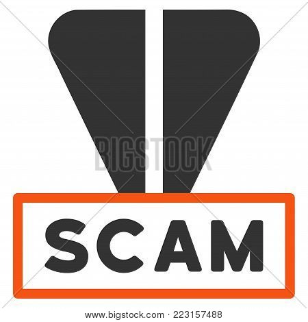 Ton Scam Label flat vector icon. An isolated icon on a white background.