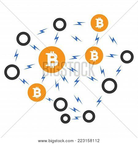 Bitcoin Lightning Network flat vector pictogram. An isolated icon on a white background.