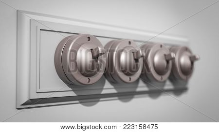 A 3D illustration of a row of 4 old-fashioned light switches on a backboard and with a strong depth-of-field focus