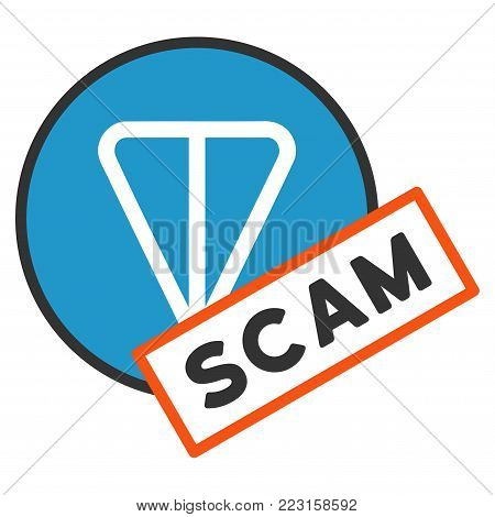 Ton Scam Label flat vector pictogram. An isolated icon on a white background.