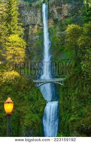 Iconic waterfall along highway I-84 east of Portland, Oregon