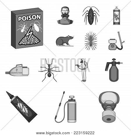Pest, poison, personnel and equipment monochrome icons in set collection for design. Pest control service vector symbol stock illustration.