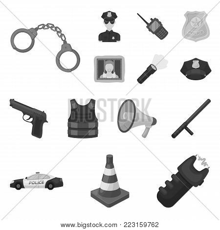 Police, Department monochrome icons in set collection for design.Detective and accessories vector symbol stock  illustration.