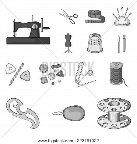 Sewing, atelier monochrome icons in set collection for design. Tool kit vector symbol stock  illustration.