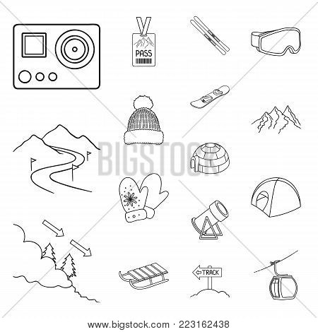 Ski resort and equipment outline icons in set collection for design. Entertainment and recreation vector symbol stock  illustration.