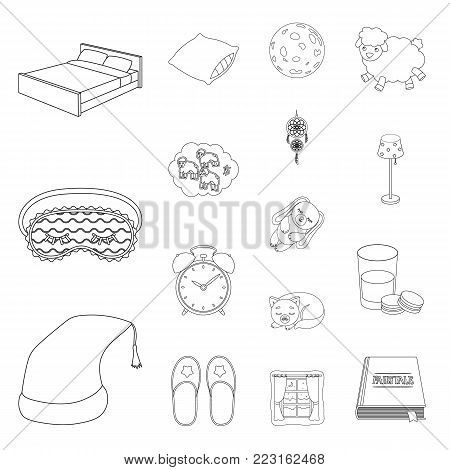 Rest and sleep outline icons in set collection for design. Accessories and comfort vector symbol stock  illustration.