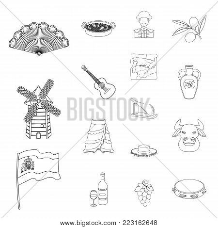 Spain country outline icons in set collection for design.Travel and attractions vector symbol stock  illustration.