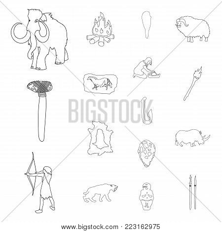 Life in the Stone Age outline icons in set collection for design. Ancient people vector symbol stock  illustration.