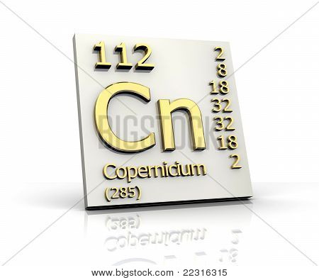 Copernicium Periodic Table of Elements - 3d made poster