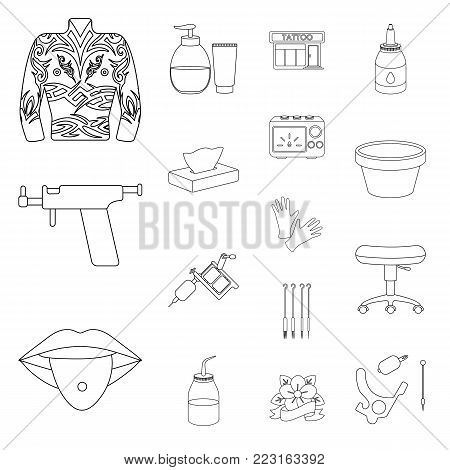 Tattoo, drawing on the body outline icons in set collection for design. Tattoo salon and equipment vector symbol stock  illustration.