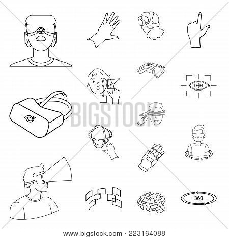 A virtual reality outline icons in set collection for design. Modern technology and equipment vector symbol stock  illustration.