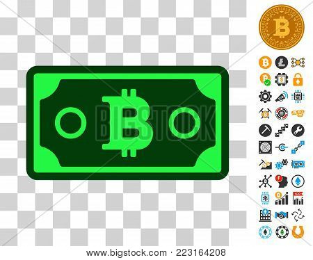 Bitcoin Banknote pictograph with bonus bitcoin mining and blockchain pictographs. Vector illustration style is flat iconic symbols. Designed for bitcoin software.