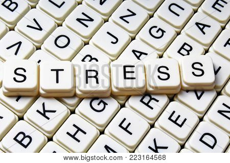 text word crossword title caption label cover background. Alphabet letter toy blocks. White alphabetical letters Stress.