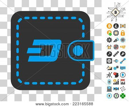 Dashcoin Wallet icon with bonus bitcoin mining and blockchain pictures. Vector illustration style is flat iconic symbols. Designed for bitcoin ui toolbars.