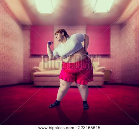 Fat woman on training, fight against obesity