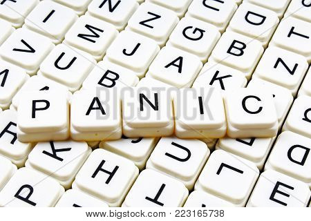 Panic text word crossword title caption label cover background. Alphabet letter toy blocks. White alphabetical letters. Panic