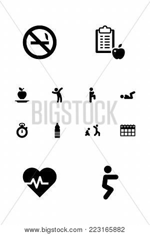 Set of 12 training icons set. Collection of calendar, v crunch, healthy eating and other elements.