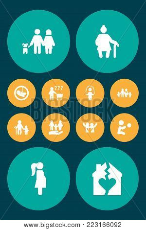 Set of 12 family icons set. Collection of skipping rope, grandmother, boy elements.