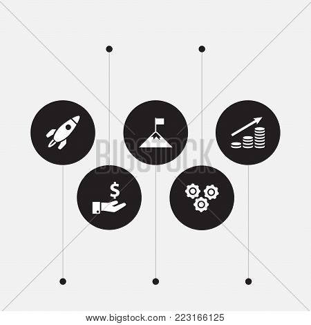 Set of 5 startup icons set. Collection of startup, profit, success and other elements.
