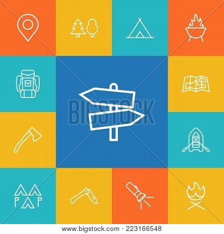 Set of 13 outdoor icons line style set. Collection of gps, ax, bonfire and other elements.