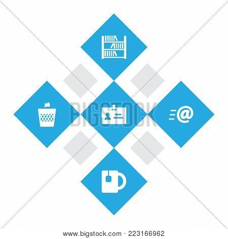 Set of 5 workspace icons set. Collection of badge id, email, bookshelf and other elements.