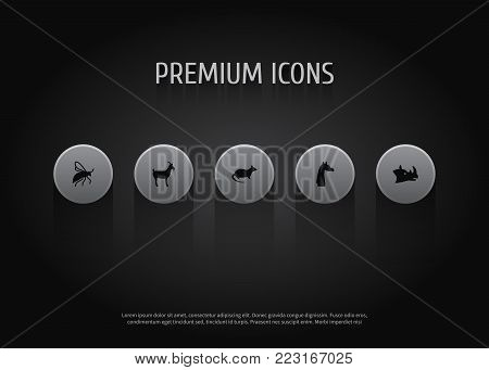 Set of 5 animal icons set. Collection of rhino, wisp, giraffe and other elements.