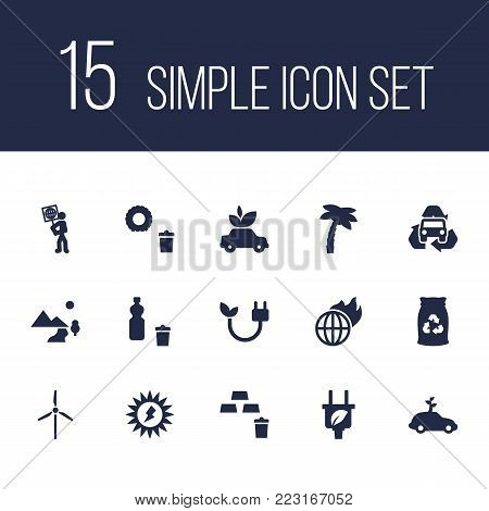 Set of 15 ecology icons set. Collection of global warming, solar, ecology and other elements.