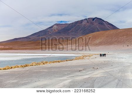 Laguna Hedionda located in the Bolivian altiplano near the Uyuni Salt Flat in Bolivia, South America Stock photo