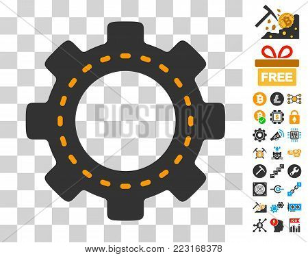 Setup Gear pictograph with bonus bitcoin mining and blockchain pictographs. Vector illustration style is flat iconic symbols. Designed for cryptocurrency software.