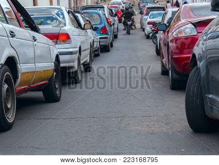 traffic. A close-up view of cars. It goes a way between stock photo