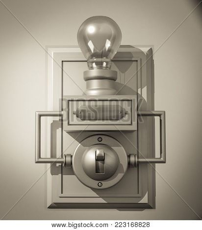 A 3D illustration of an old-fashioned, sepia-toned light switch on a backboard and a light bulb containing a Valentine's Day heart as the filament