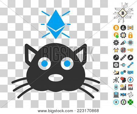 Ethereum Crypto Kitty pictograph with bonus bitcoin mining and blockchain symbols. Vector illustration style is flat iconic symbols. Designed for crypto currency websites.