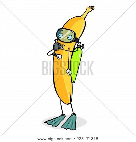 Vector Cartoon Character - Yellow Banana Diver with Mask, Flippers and Aqualung