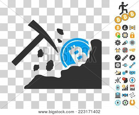 Bitcoin Mining Hammer icon with bonus bitcoin mining and blockchain pictograms. Vector illustration style is flat iconic symbols. Designed for blockchain websites.