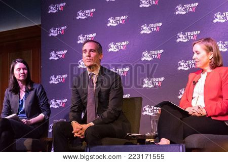 LOS ANGELES, CALIFORNIA - JANUARY 22, 2018:   Chye-Ching Huang and Mayor Garcetti joined Ann O'Leary (National Policy Leader & Partner at Boies Schiller Flexner) in Los Angeles for a TrumpTax Town Hall.