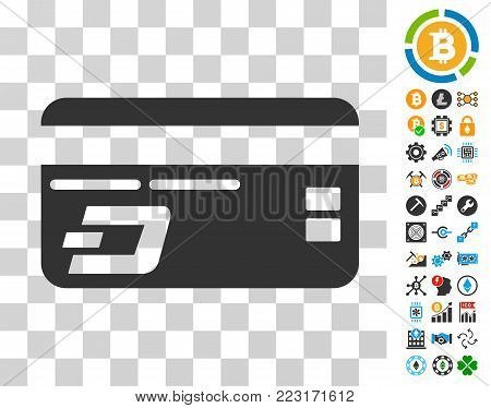 Dash Bank Card pictograph with bonus bitcoin mining and blockchain pictures. Vector illustration style is flat iconic symbols. Designed for crypto currency websites.