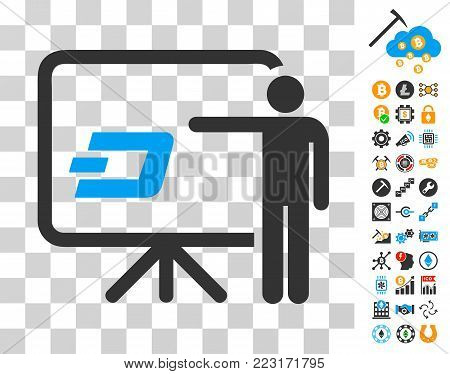 Dash Board Presentation Person pictograph with bonus bitcoin mining and blockchain pictographs. Vector illustration style is flat iconic symbols. Designed for blockchain apps.