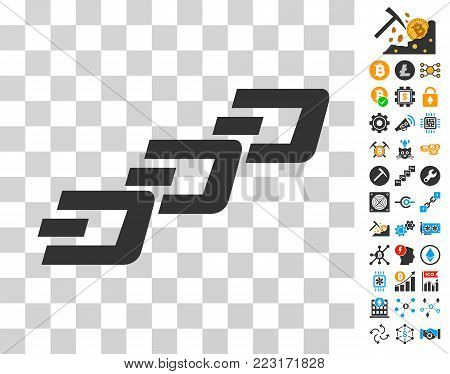 Dash Chain pictograph with bonus bitcoin mining and blockchain clip art. Vector illustration style is flat iconic symbols. Designed for crypto-currency software.